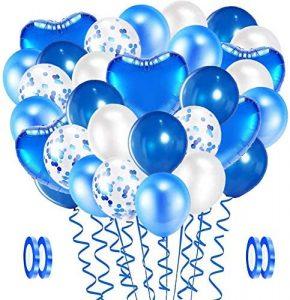 globo latex azul blancos bazar chino